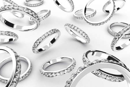 wedding band: Illustration of a silver rings with many brilliants