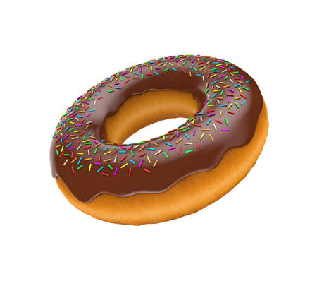 baked goods: Illustration of the tasty donut flying in air Stock Photo