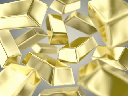 fine gold: Illustration of a many ingots of fine gold Stock Photo