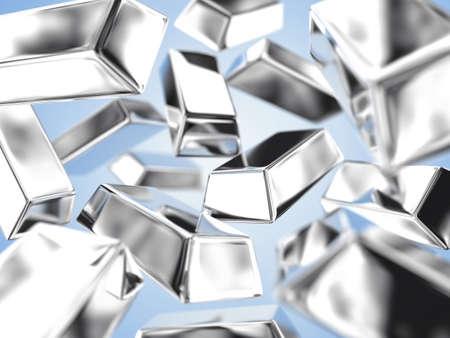 silver ingots: Illustration of a many ingots of fine silver