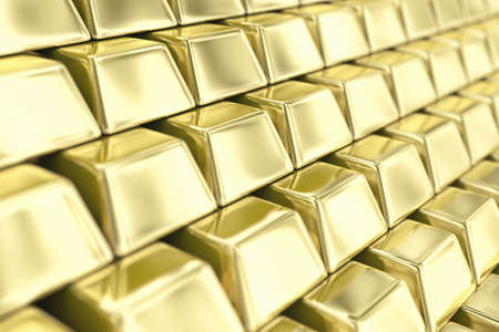financial stability: Illustration of a many ingots of fine gold Stock Photo
