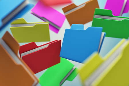 Many colour folders chaotically flying in air