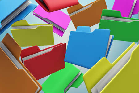 Many colour folders chaotically flying in air photo