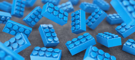 constructor: Many blue constructor chaotically flying in air