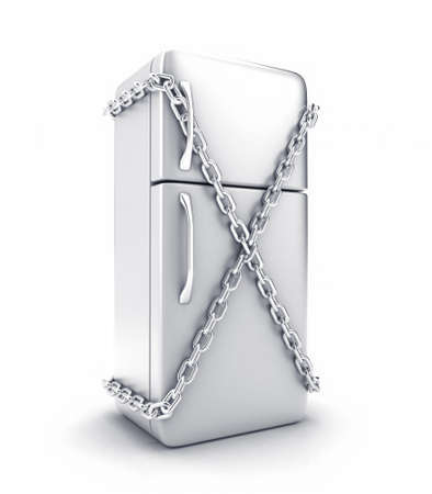 locked the door: Illustration of the fridge with a chain on a white background Stock Photo