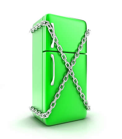 coolness: Illustration of the fridge with a chain on a white background Stock Photo