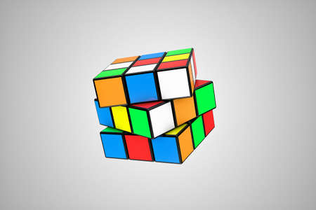 red cube: Illustration of a multicoloured cube, as a difficult riddle Stock Photo