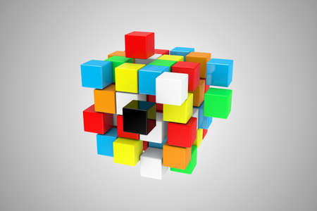 difficult: Illustration of a multicoloured cube, as a difficult riddle Stock Photo