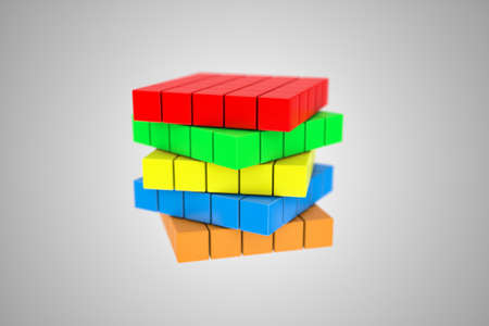multicoloured: Illustration of a multicoloured cube, as a difficult riddle Stock Photo