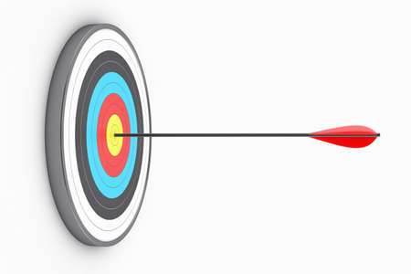 archery: Illustration of the round target with an arrow in the centre