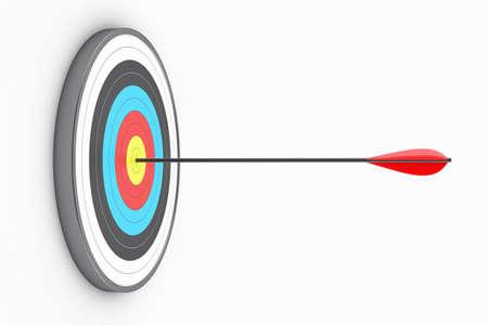 tiro al blanco: Ilustración de la diana redonda con una flecha en el centro Foto de archivo
