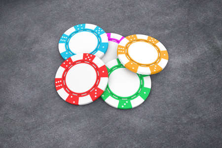 poker chip: Illustration of poker chips of different colour on a table