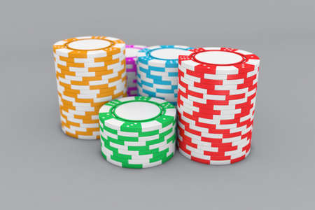 gambling counter: Illustration of poker chips of different colour on a table