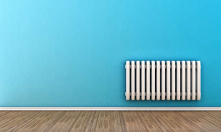 Radiator illustration on a wall in an empty room