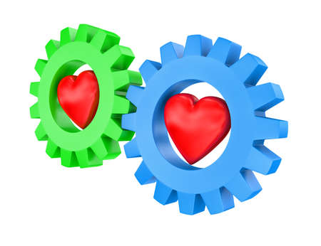 affinity: Illustration of two gears of different colour with hearts inside Stock Photo