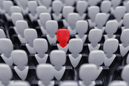 standout: Illustration of the leader of a team, standing in their midst Stock Photo