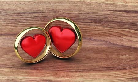 浪漫: 兩金戒指上的木桌上插圖 版權商用圖片