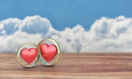 ringe: Illustration von zwei goldene Ringe auf einem Holztisch Lizenzfreie Bilder