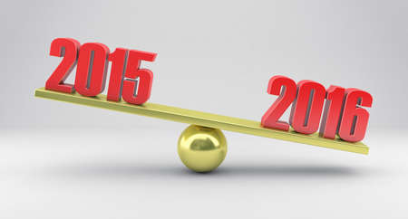 poise: Illustration of scales with dates 2015 and 2016 year Stock Photo