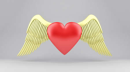 angelic: Illustration of red heart with gold angelic wings