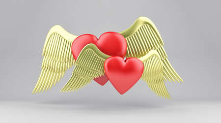 angelic: Illustration of red hearts with gold angelic wings