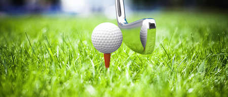 competition success: Game in a golf on a beautiful green grass