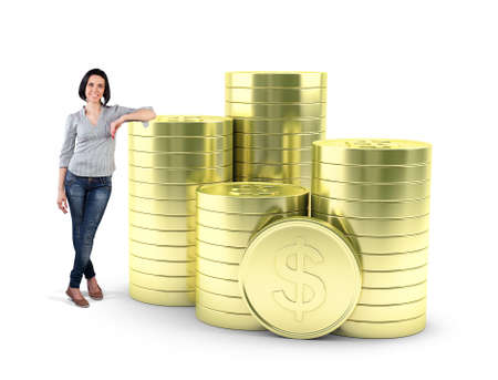 dollar sign: Beautiful girl stand with a many gold coins