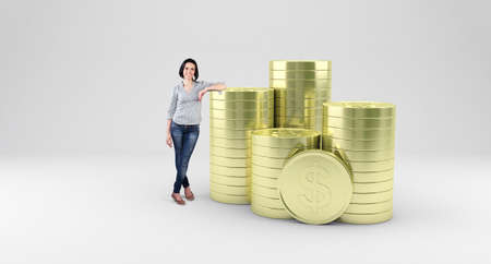 stack of coins: Beautiful girl stand with a many gold coins