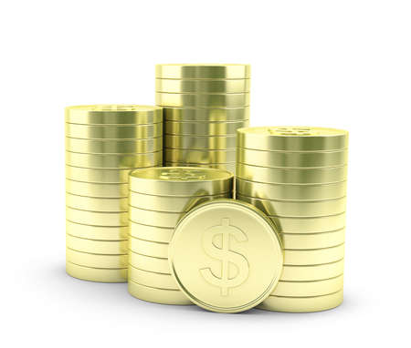 capital gains: Illustration of gold coins on a white background