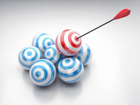 tiro al blanco: Ilustración de los objetivos redondas con una flecha en el centro Foto de archivo