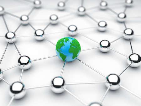 通信: 球を中心に地球からの通信の図
