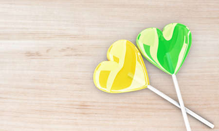 sweety: Illustration of two beautiful lollipops on a wooden table