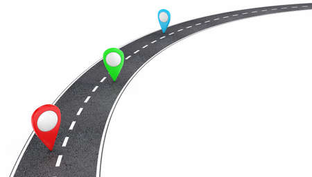 to bend: Illustration of automobile road with pointers on a white background