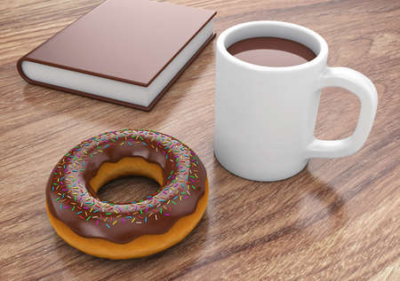 to lie: Donut with cup and book lie on a table
