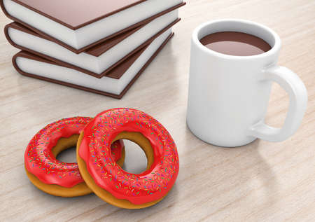 to lie: Donuts with cup and books lie on a table
