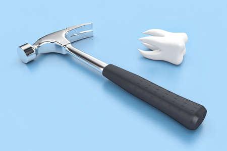 lies: The steel hammer lies near white tooth