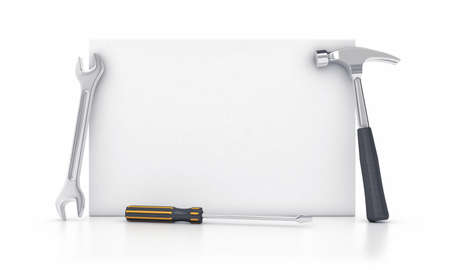 toolkit: White billboard with the different metallic tools