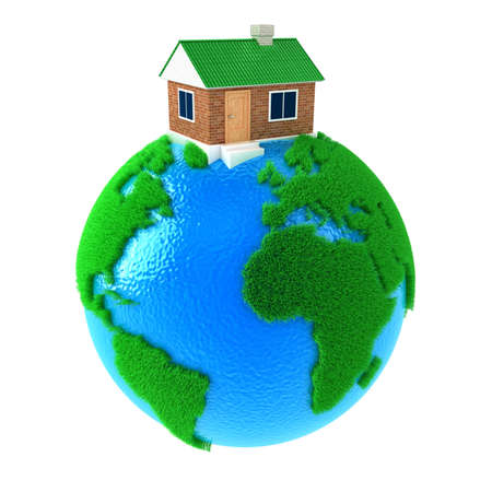 cleaning planet: Planet Earth with big house standing on it Stock Photo
