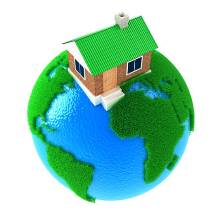 green building: Planet Earth with big house standing on it Stock Photo