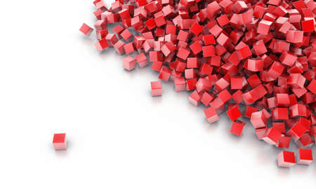 red abstract: Background from heap of cubes of red colour
