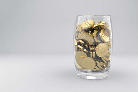 golden coins: Illustration with many golden coins in glass Stock Photo
