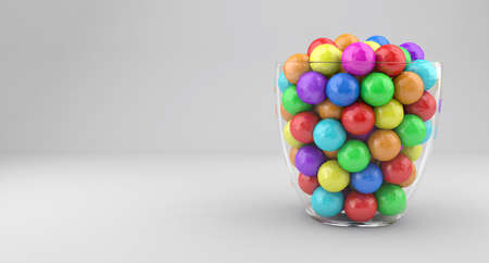 gumballs: Illustration of a glass vase with multicolored candies Stock Photo