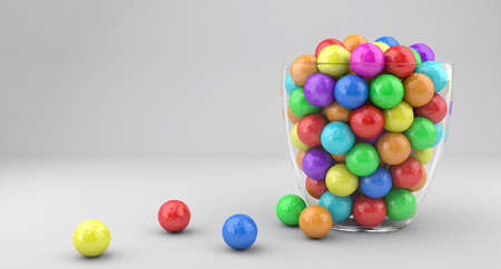 chewing gum: Illustration of a glass vase with multicolored candies Stock Photo