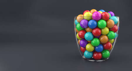 multicolored gumballs: Illustration of a glass vase with multicolored candies Stock Photo