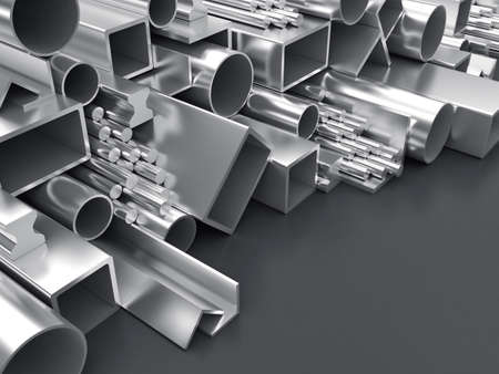 girders: 3D illustration of products of the different form from metal
