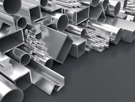 firmeza: Ilustración 3D de productos de forma diferente a partir de metal Foto de archivo