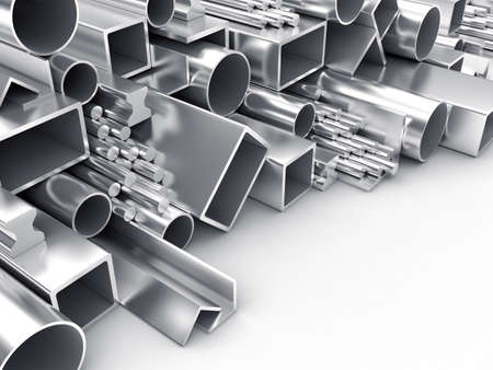 aluminum: 3D illustration of products of the different form from metal