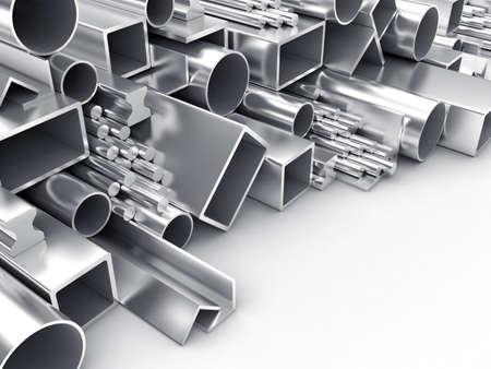 siderurgia: Ilustración 3D de productos de forma diferente a partir de metal Foto de archivo