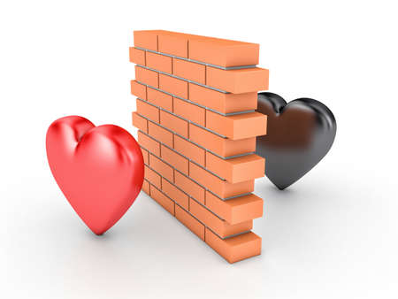 enmity: 3D illustration of wall and two hearts Stock Photo