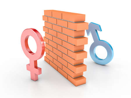 male female: 3D illustration of wall and two persons